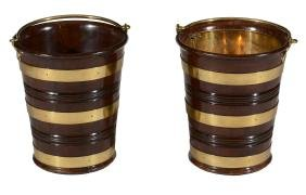 A pair of mahogany and brass bound peat buckets, circa