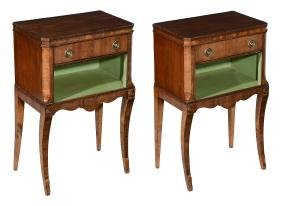 A pair of mahogany bedside cupboards in Regency style ,
