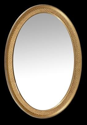 A gilt wood oval mirror in the 18th century style ,
