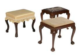 A mahogany upholstered footstool in George III style,