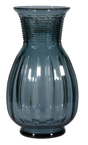 A large Val St. Lambert pale-blue-tint glass vase ,