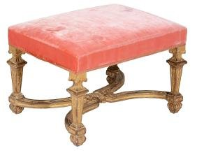 A French carved giltwood stool , circa 1740