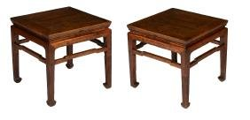 A pair of Chinese elm wood low tables or stools , circa