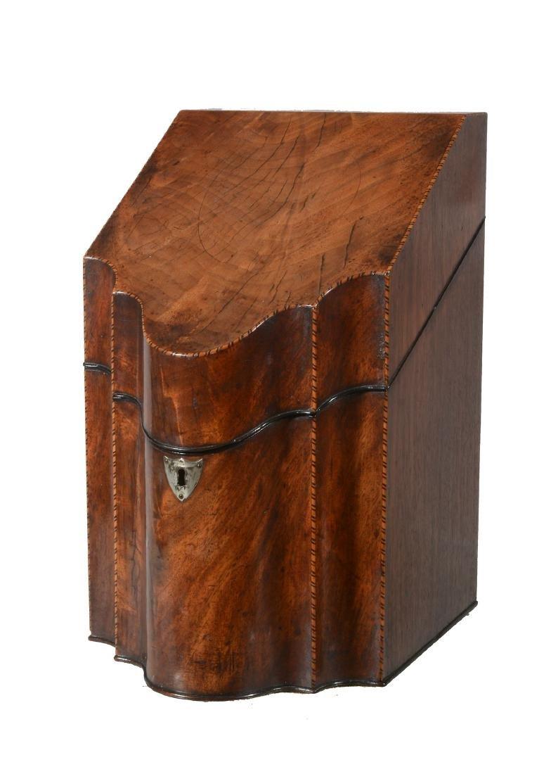 A George III mahogany knife box, late 18th century