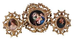 Three German porcelain Florentine retailed old master