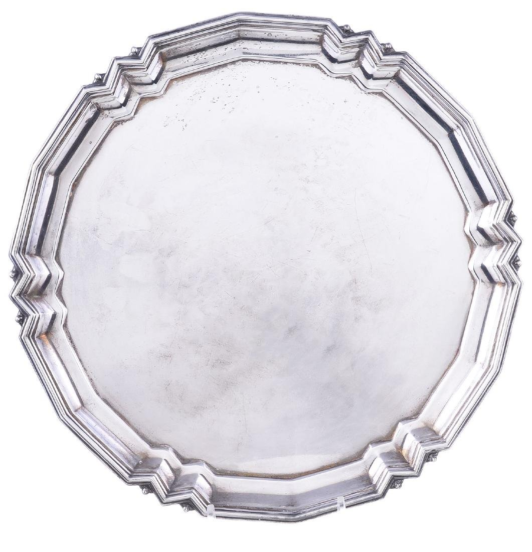 An Art Deco silver shaped circular salver by Mappin &
