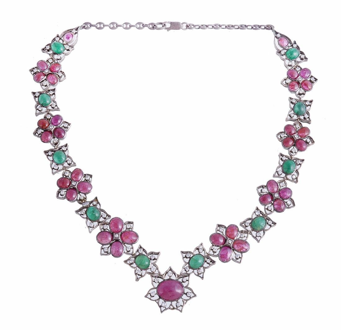 An emerald, ruby and diamond necklace, composed of