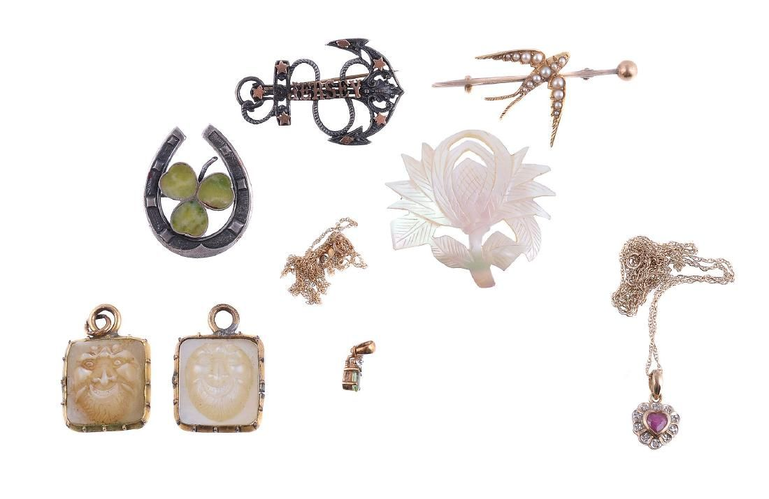 A small collection of jewellery , to include a half