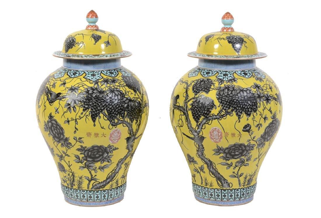A large pair of Chinese Daya Zhai style yellow ground