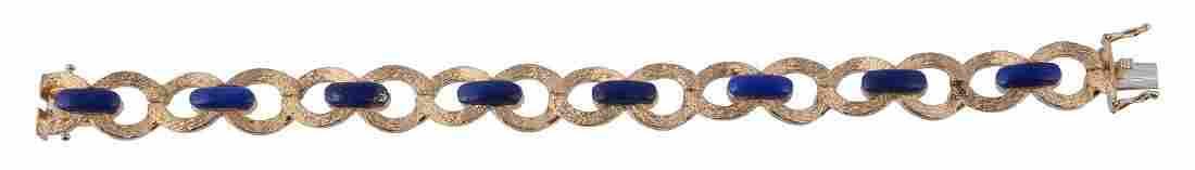 A 1970s 18 carat gold lapis lazuli bracelet