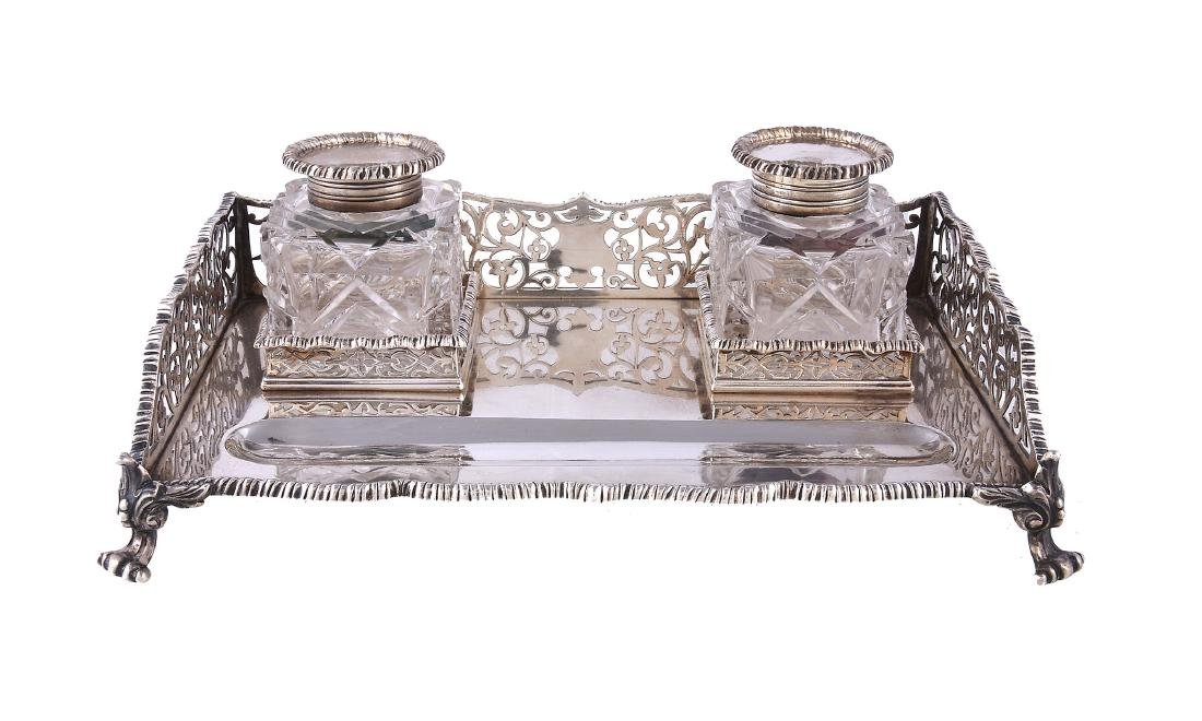 A late Victorian silver rectangular inkstand by The