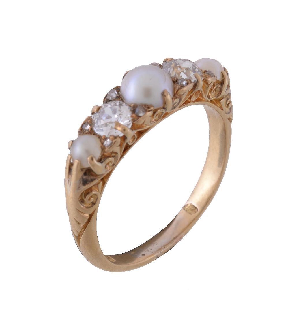 A late Victorian diamond and half pearl ring, circa