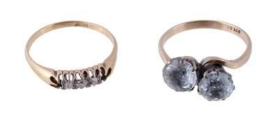 A two stone aquamarine ring, the two circular cut
