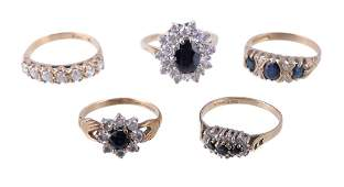 A 9 carat gold sapphire and diamond ring the three
