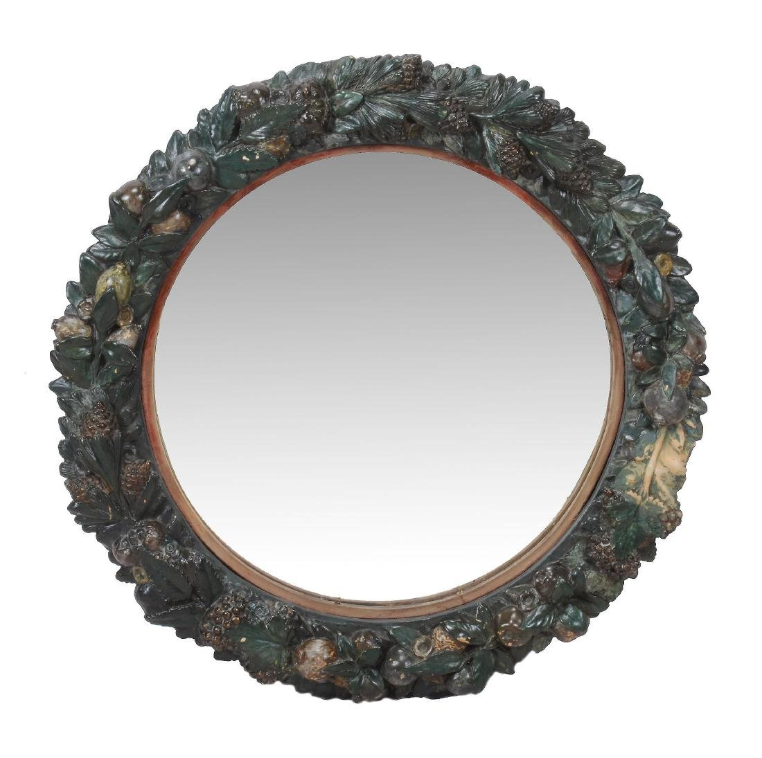 A Continental painted terracotta wall mirror, second
