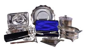 A collection of electroplated items to include