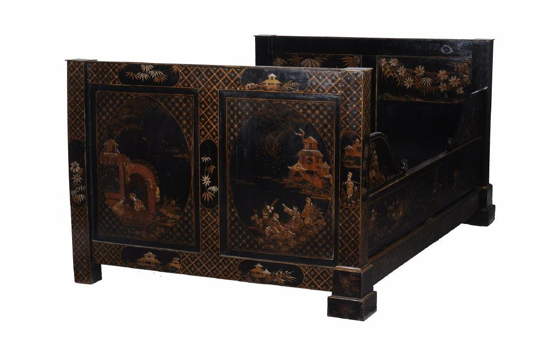 A black lacquered, and parcel gilt decorated bed , late