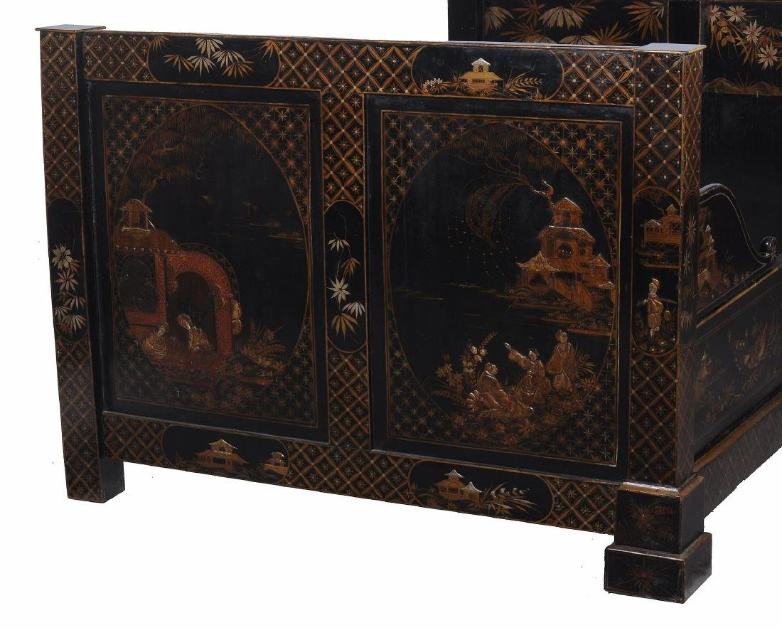 A black lacquered, and parcel gilt decorated bed , late - 2