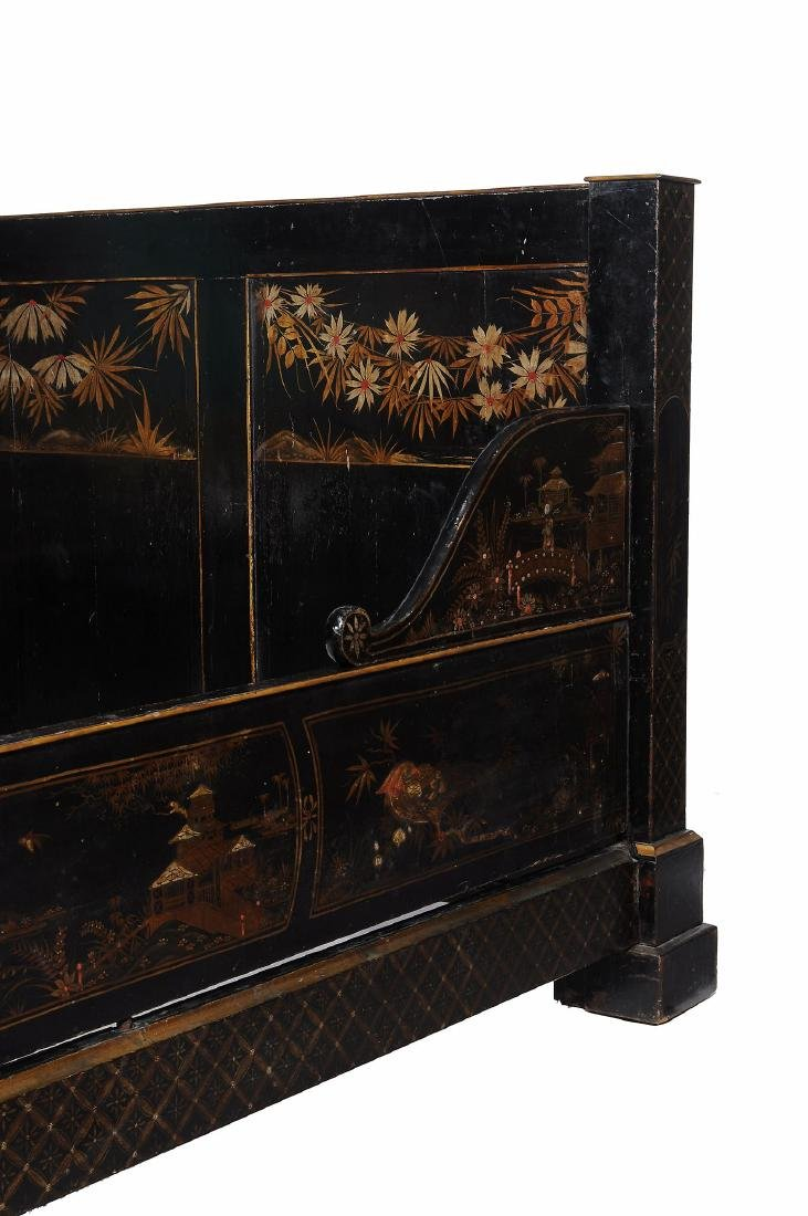 A black lacquered, and parcel gilt decorated bed , late - 3