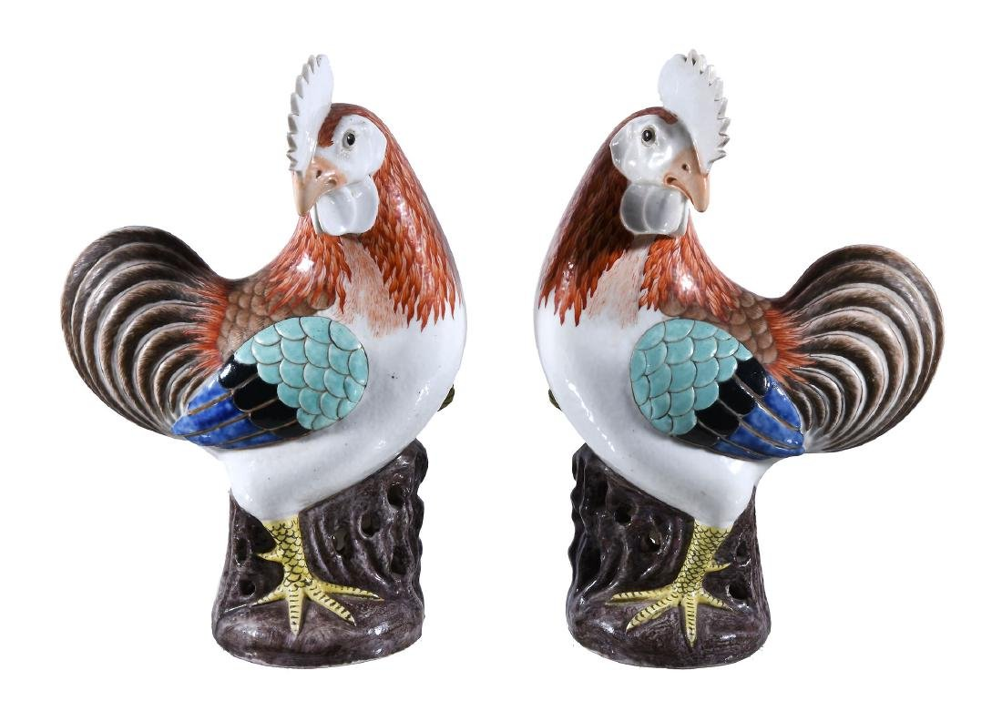 A pair of Chinese export famille-rose cockerels, Qing