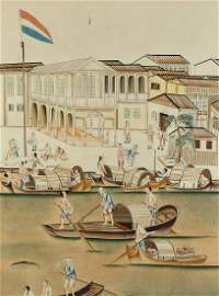 A large pair of Chinese watercolours depicting the
