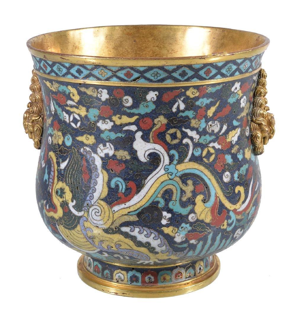 A Chinese cloisonné 'dragon' deep bowl, Qing