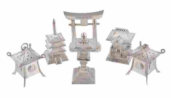 A Chinese export silver miniature 'pagoda' five-piece