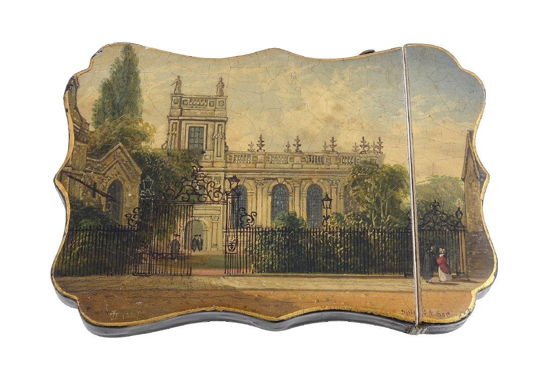 A rare mid Victorian shaped rectangular papier mache