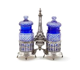 A French silver double pickle jar stand, apparently no