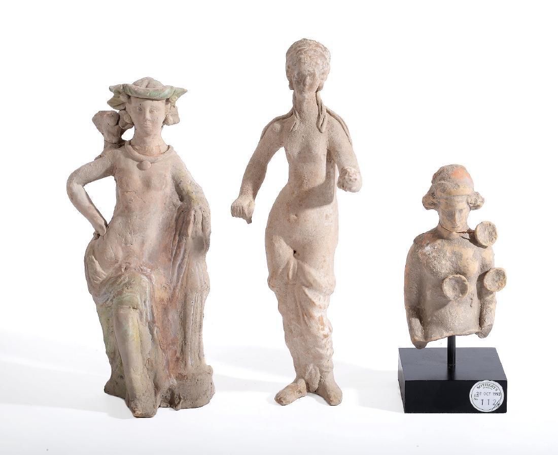 A hollow Greek terracotta female bust, circa 4th