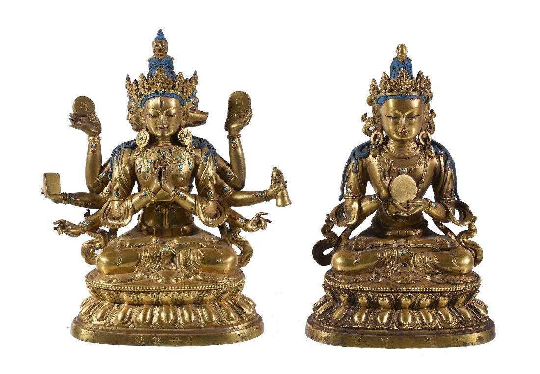 Two Sino-Tibetan gilt-bronze figures, China or Tibet,