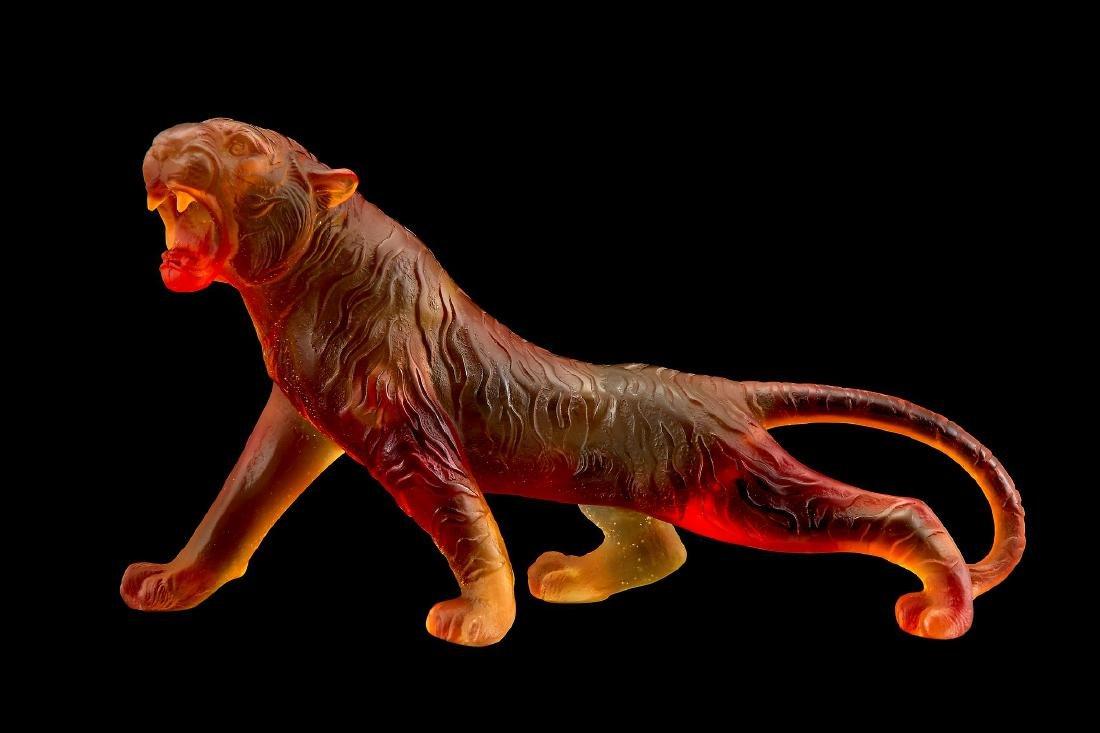 Daum, Tigre de Bengale, an amber pate de verre model of