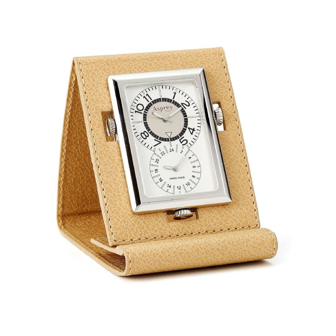 Asprey, a stainless steel and cream monogrammed leather