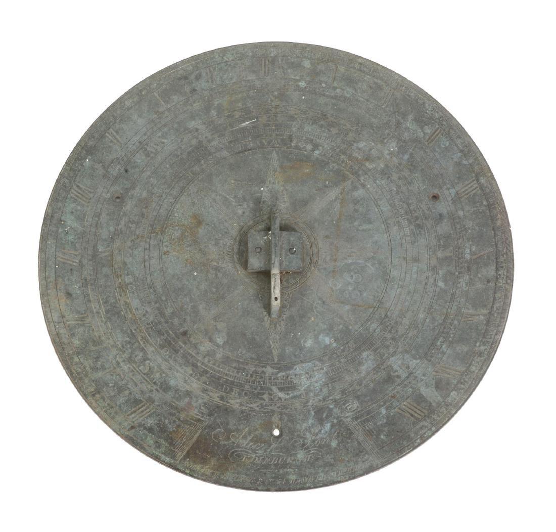 A fine Scottish patinated brass garden sundial plate