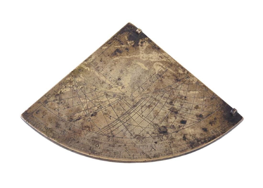 A rare English brass Gunter pattern horary quadrant