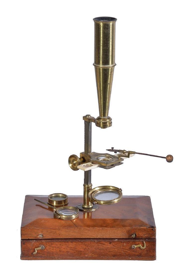 A mahogany cased field microscope, early 19th century
