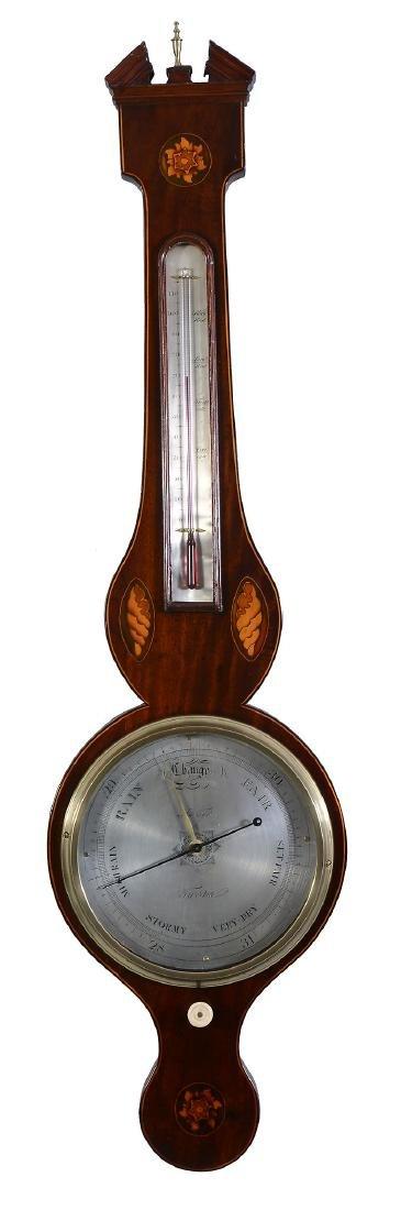 A Regency inlaid mahogany mercury wheel barometer
