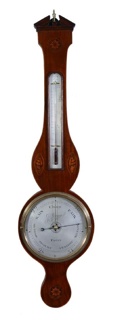A George III inlaid mahogany mercury wheel barometer G