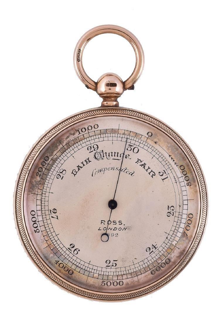 An Edwardian 15ct gold cased aneroid pocket barometer