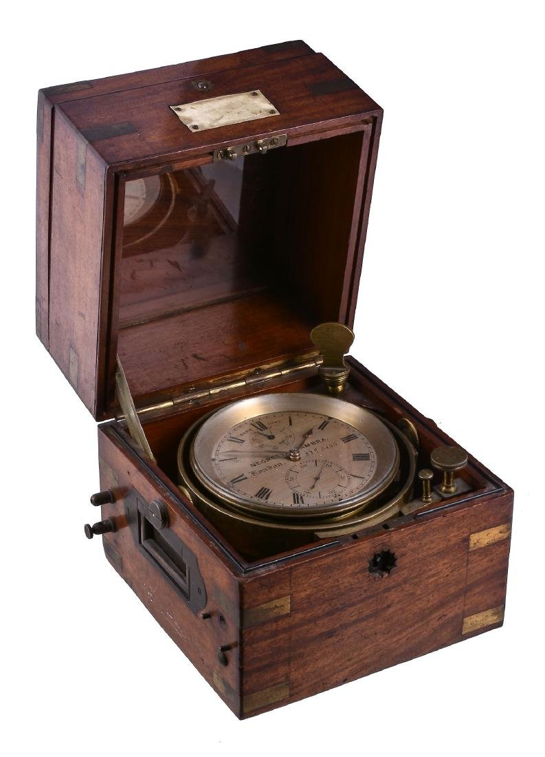 A mahogany cased two-day marine chronometer with