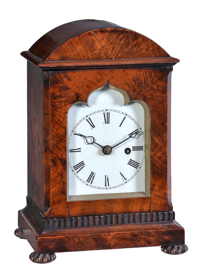 A Victorian mahogany small mantel timepiece Unsigned