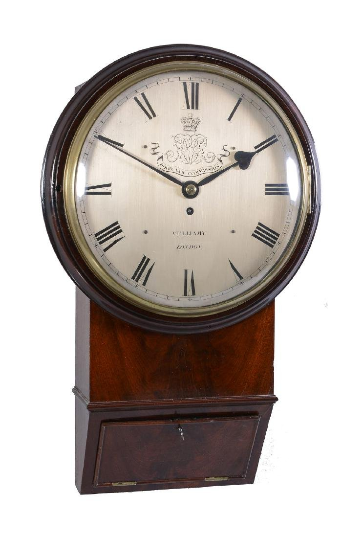 A fine early Victorian mahogany fusee drop-dial wall