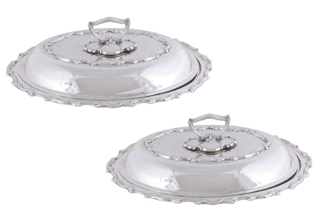 A pair of late Victorian silver shaped oval entree