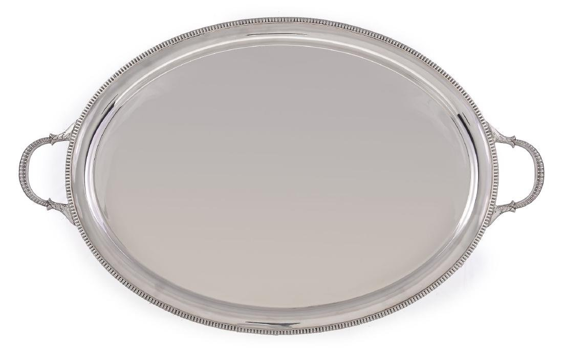 A silver oval twin handled tray by William Hutton &