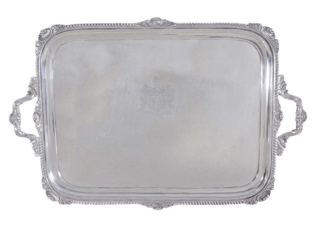 An Edwardian silver shaped rectangular twin handled