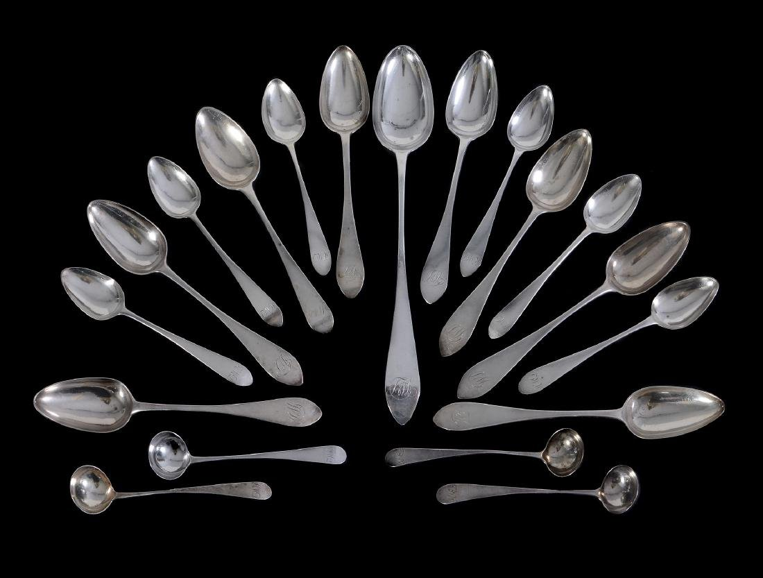 An assembled set of George III Scottish silver pointed
