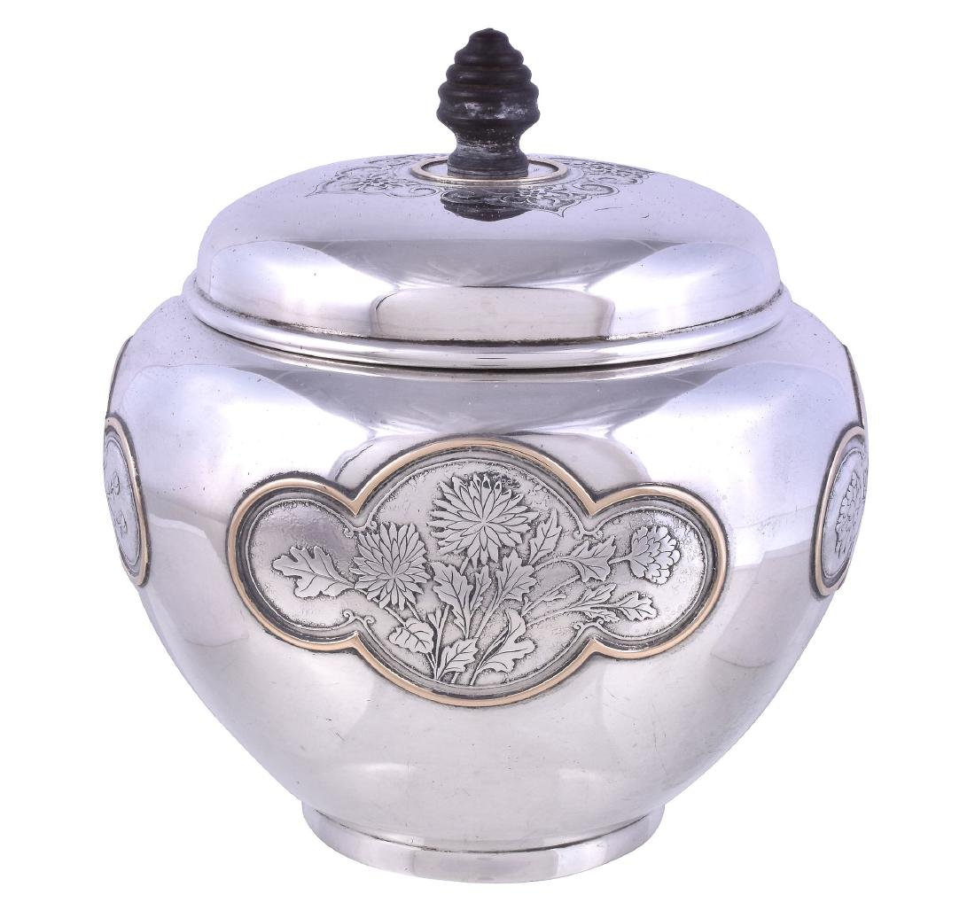 An American silver ovoid tea caddy by The Sweetser Co