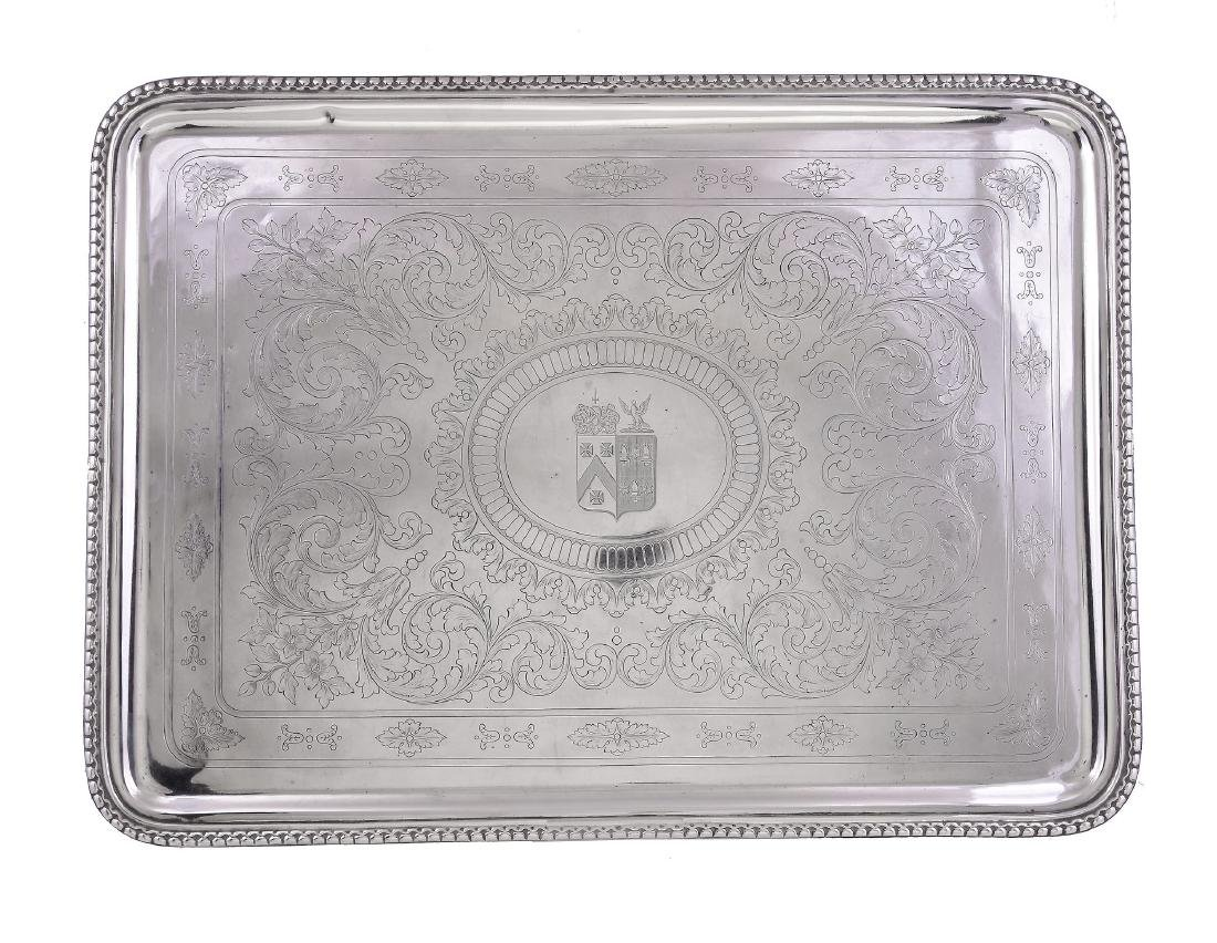 A French silver rounded rectangular tray by Maison