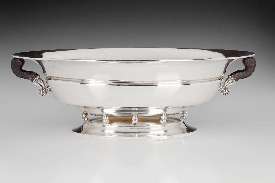 A Norwegian Arts and Crafts silver oval punch bowl by