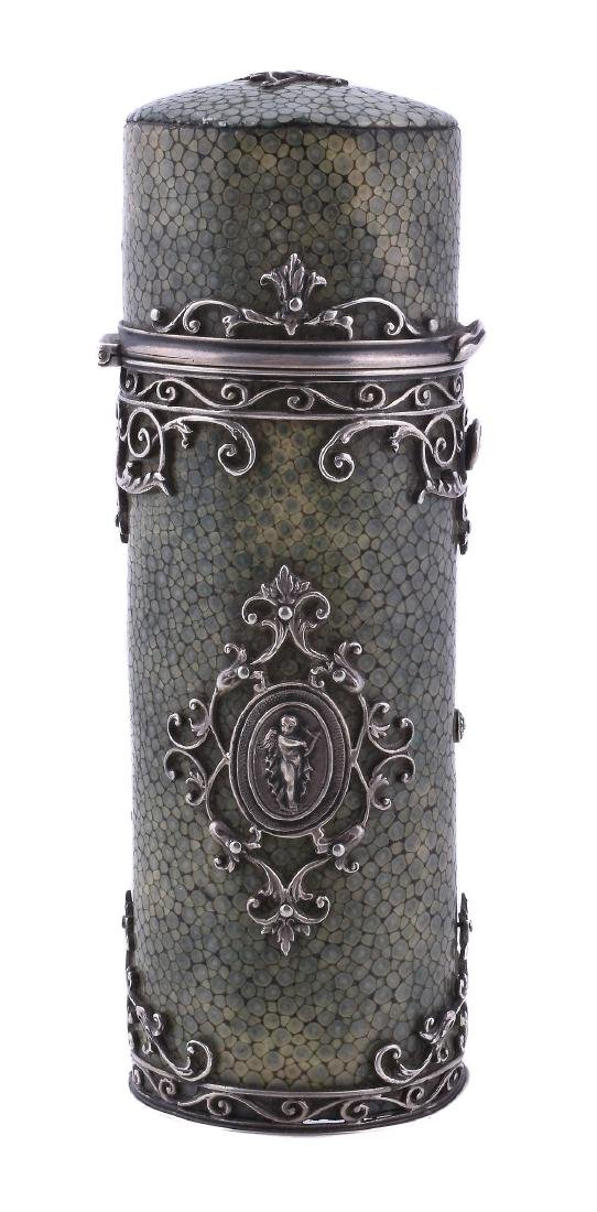 A silver mounted shagreen cylindrical etui case,